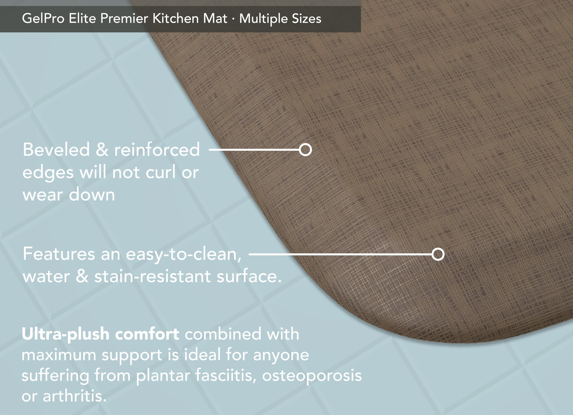 "GelPro Elite Premier Anti-Fatigue Kitchen Comfort Floor Mat, 20x36"", Linen Sandalwood Stain Resistant Surface with therapeutic gel and energy-return foam for health & wellness by GelPro (Image #4)"