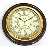 Artshai Antique Look Silent Wall Clock, 12 Inch Brass And Wooden