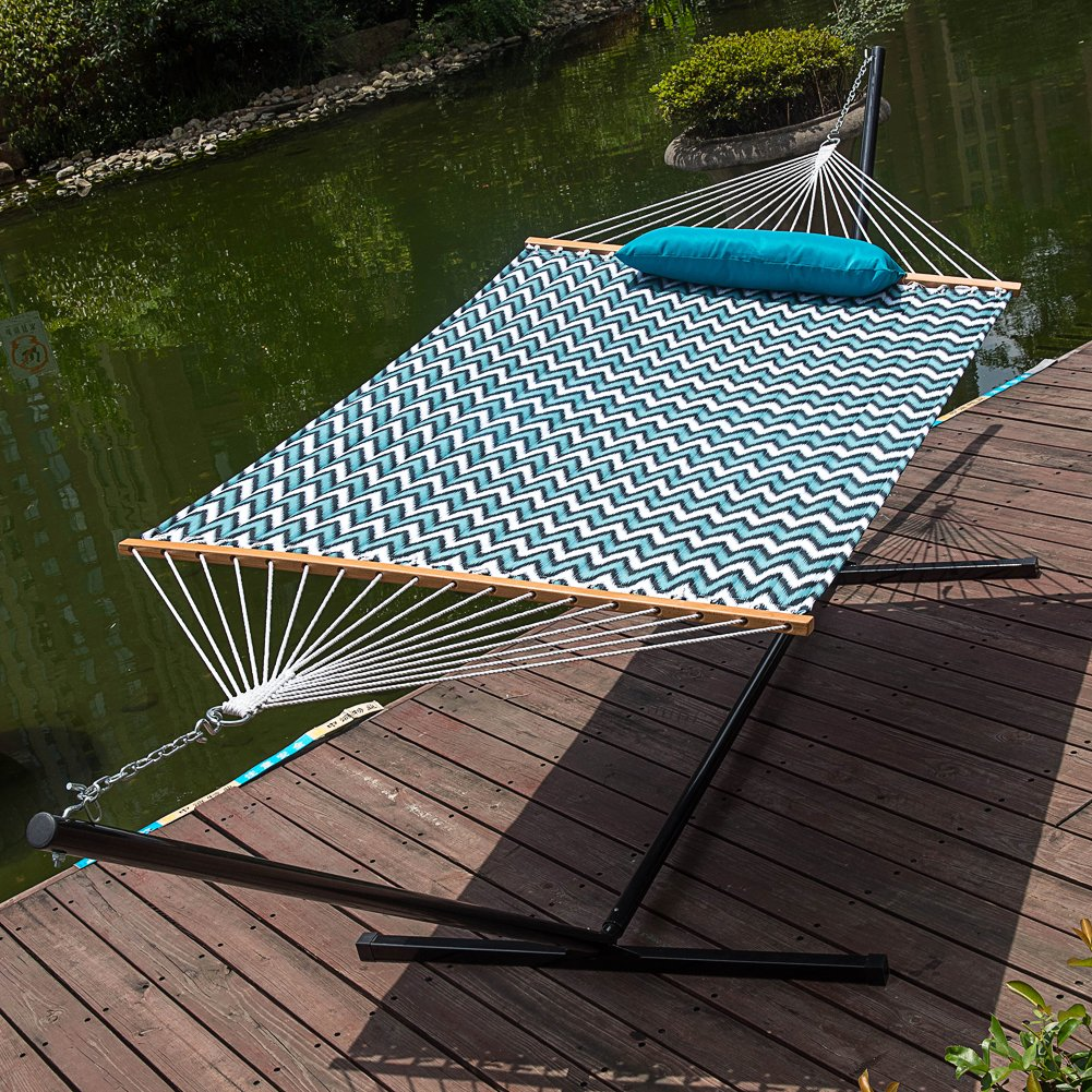 LazyDaze Hammocks 15 Feet Heavy Duty Steel Hammock Stand, Two Person Quilted Fabric Hammock And Pillow Combo,Blue&White Wave