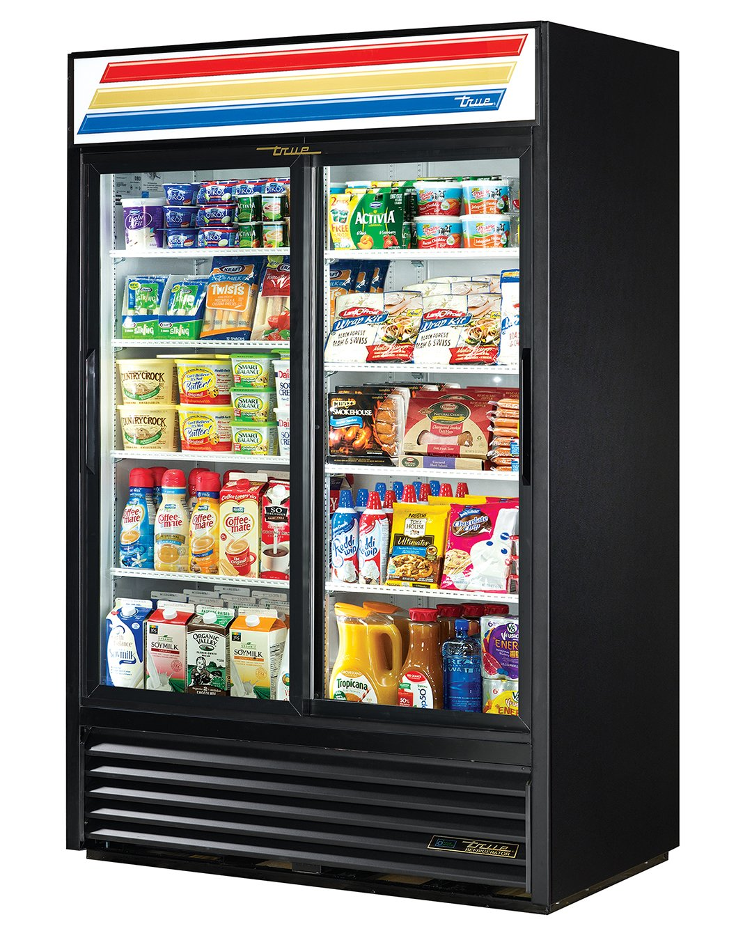 "True GDM-45-HC-LD Sliding Glass Door Merchandiser Refrigerator with Hydrocarbon Refrigerant and LED Lighting, Holds 33 Degree F to 38 Degree F, 78.625"" Height, 29.875"" Width, 51.125"" Length"