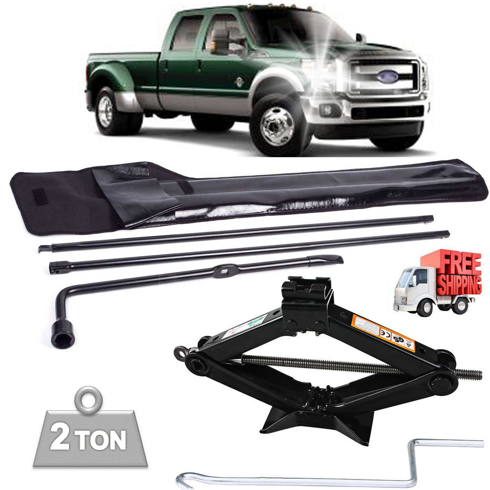 Spare Tire Changing Repair Tools Set for Ford F250 F350 F450 F550 (03-07) Lug Wrench Jack Hook Extension Irons Replacement OEM + Steel Scissor Car Jack 2 Ton/385mm Capacity with Speed Handle US Ship by DICN