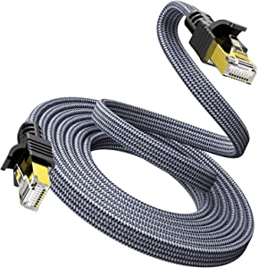 Cat 7 Ethernet Cable 10ft/3M - Snowkids 1000Mbps Network LAN Patch Cords Flat Cable RJ45, for Network Switches, Routers, PS4,Hubs and Other, Backward Compatible with Cat6/Cat 5e/Cat 5