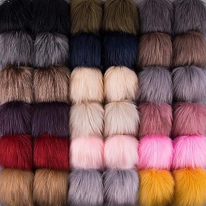 SIQUK 36 Pieces Faux Fur Pom Pom Balls DIY Faux Fox Fur Fluffy Pom Pom with Elastic Loop for Hats Scarves Gloves Bags Accessories 18 Bright Colors, 2 Pcs for Each Color