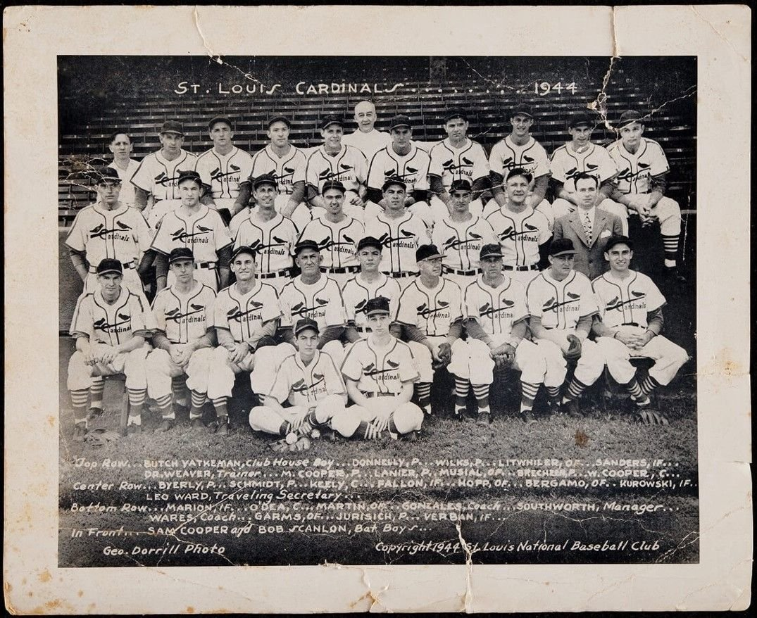 e7fdaf260b186f Amazon.com  1944 St. Louis Cardinals World Series Champions Team Signed  Photo 25 Signatures  Sports Collectibles