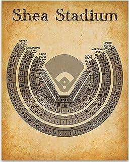 Shea Stadium Blueprint Style Print