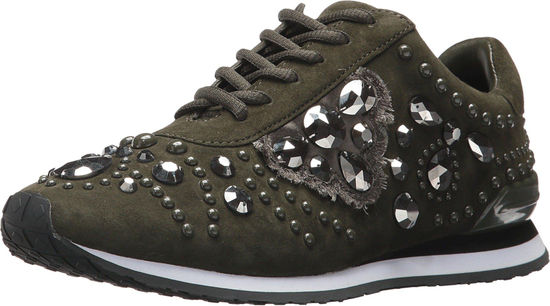 Tory Burch Scarlett Embellished Velvet Sneakers, boxwood/Hematite (7)