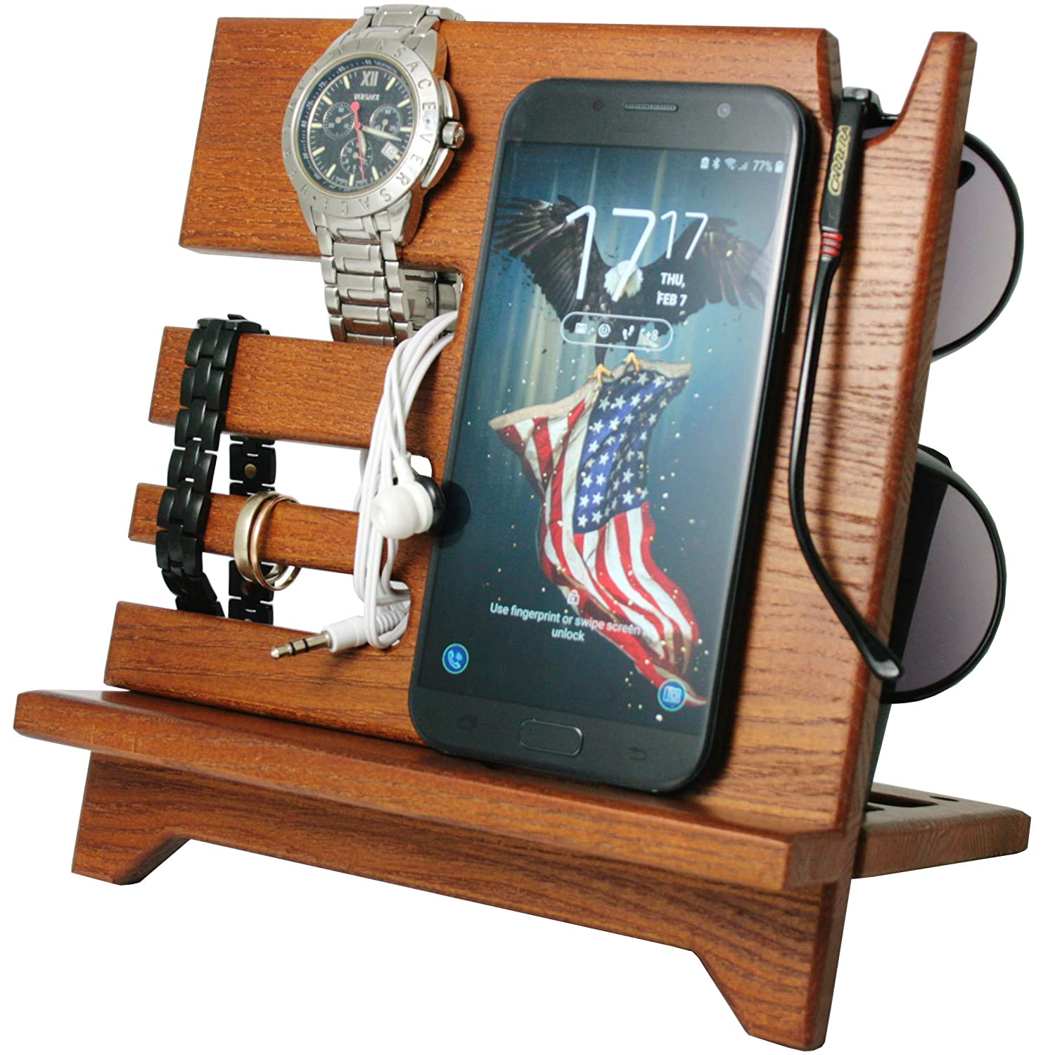 Cell Phone Stand Watch Holder. Men Wireless Device Dock Organizer Wood Mobile Base Nightstand Charging Docking Station. Women Accessories Wooden Storage.