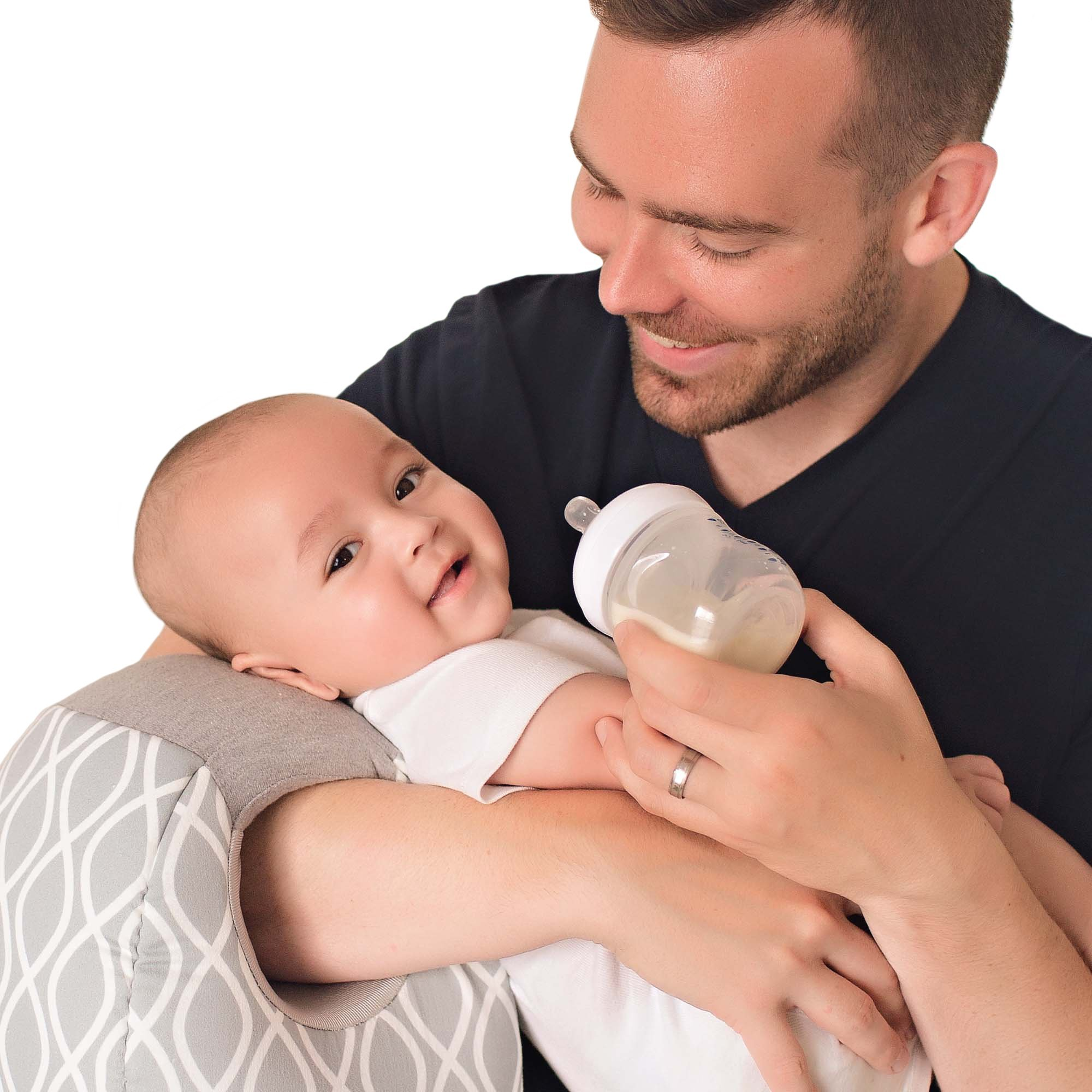 Itzy Ritzy Infant Nursing Pillow - Milk Boss Breastfeeding and Bottle Feeding Pillow and Positioner - Rotates Around Arm to Offer a Custom Fit and Relieve Arm Strain, Platinum Helix by Itzy Ritzy