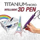 Titanium Micro 3D Pen RP600A Intelligent 3D Pen, USB 3D Printing Pen Compatible with PLA / ABS Filament + 3 Free 1.75mm Filament Refills (Purple)