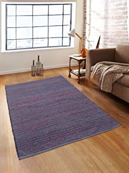 Romee Geometric Design Cotton Dhurrie/Rugs for Living Room, 4X6 Feet - Blue Rugs at amazon