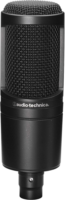 Black Audio-Technica AT2020 Cardioid Condenser Studio Microphone Renewed