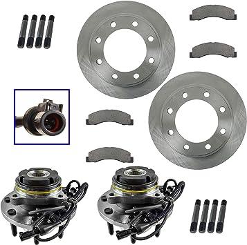 Front Posi Ceramic Disc Brake Pad Rotor /& Wheel Hub w// Bearing Kit LH /& RH Set