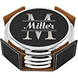 Premium Personalized Leather Coasters Set with Metal Rim - Housewarming and Wedding Gifts for Couples - Custom Engraved and Monogrammed for Free - Round