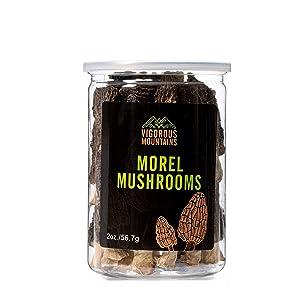 VIGOROUS MOUNTAINS Wild Dried Morel Mushrooms 2 Ounce Morchella Conica 3-8cm Size Sealed Jar Premium Grade AAA