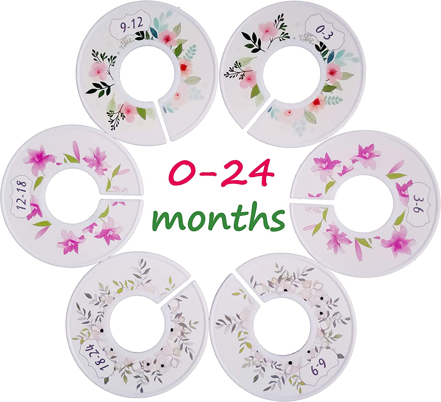 Elibeauty 6 Pieces Clothing Rack Size Dividers Baby Kids Closet Round Dividers with 0-3 Months to 18-24 Months