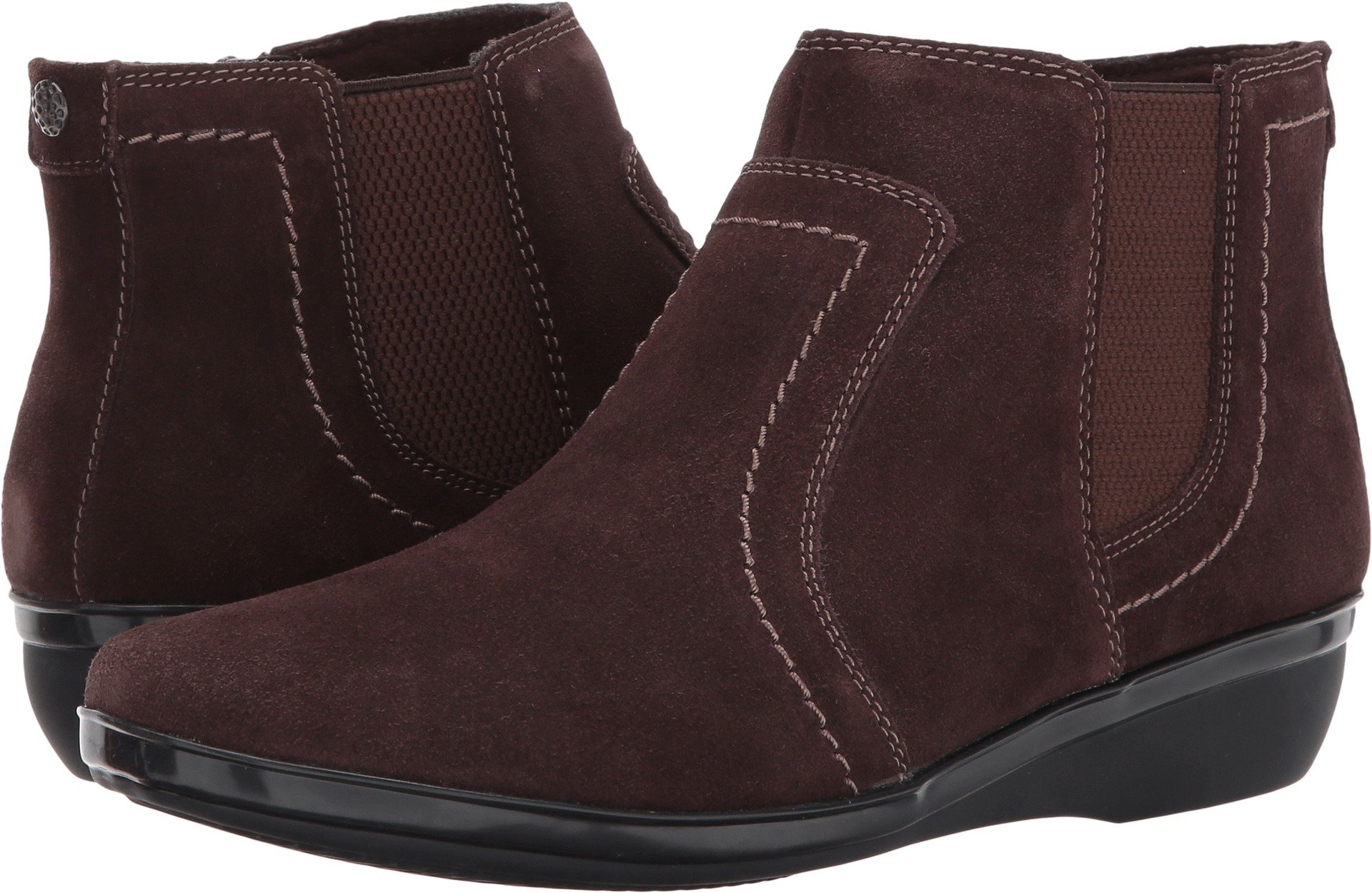 CLARKS Womens Everlay Leigh Low Boot, Size: 7 C/D US, Color Dark Brown Suede