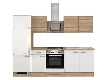 Flex-Well 00007898 Küchenzeile Samoa 270 cm weiß, Sonoma Eiche ...