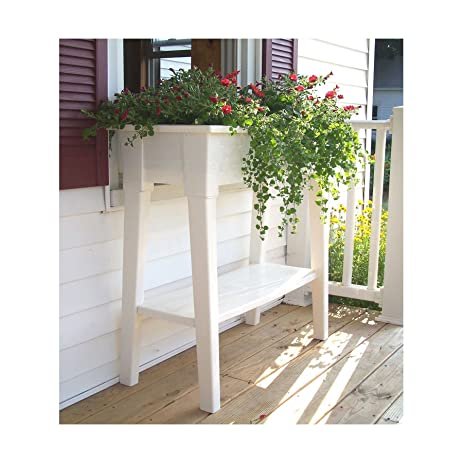 Bon White Outdoor Patio 36u0026quot; Deluxe Large Garden Planter Flower Box Stand  With Shelf