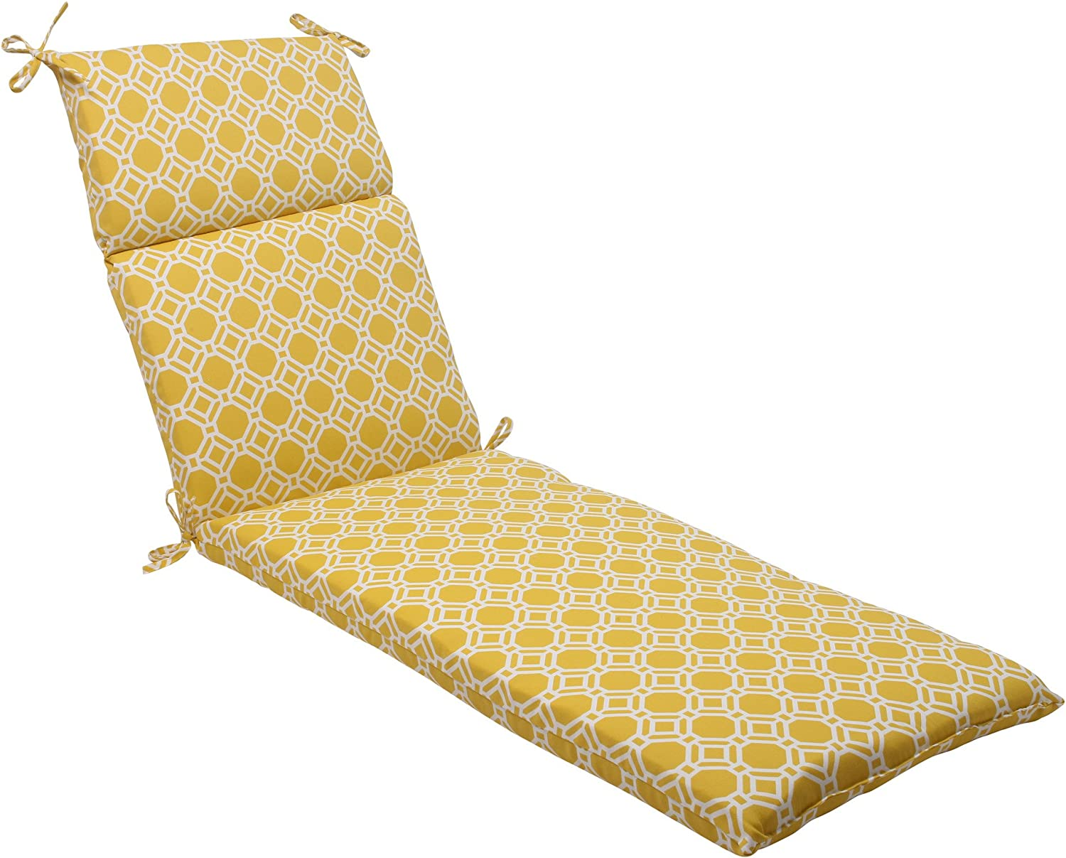 Pillow Perfect Outdoor/Indoor Rossmere Sunshine Chaise Lounge Cushion, 72.5 in. L X 21 in. W X 3 in. D, Yellow