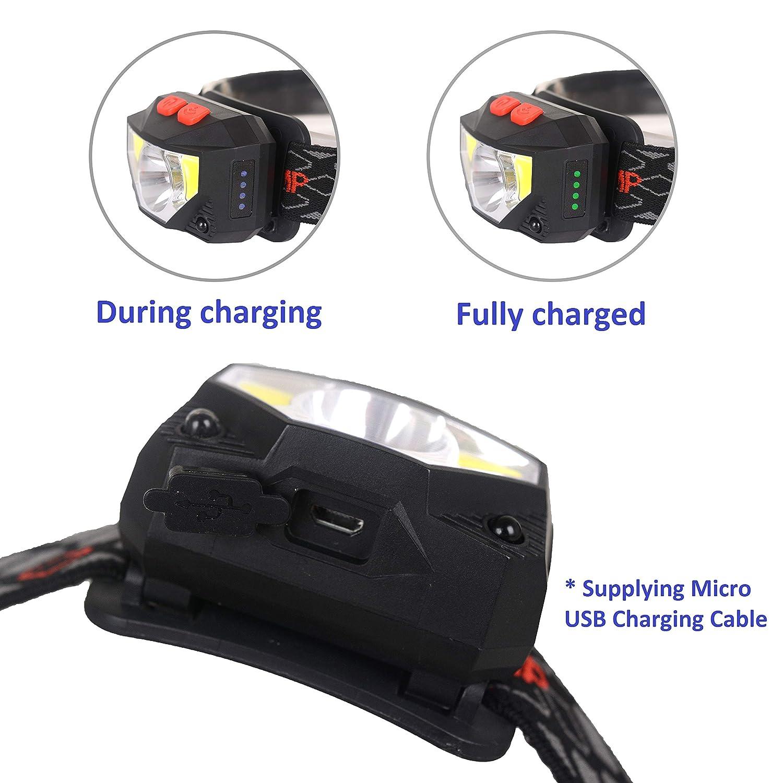 pesca Linterna frontal LED recargable por USB 550 l/úmenes senderismo 6 modos para correr pilas incluidas con sensor manos libres acampar Wolfteth 414701