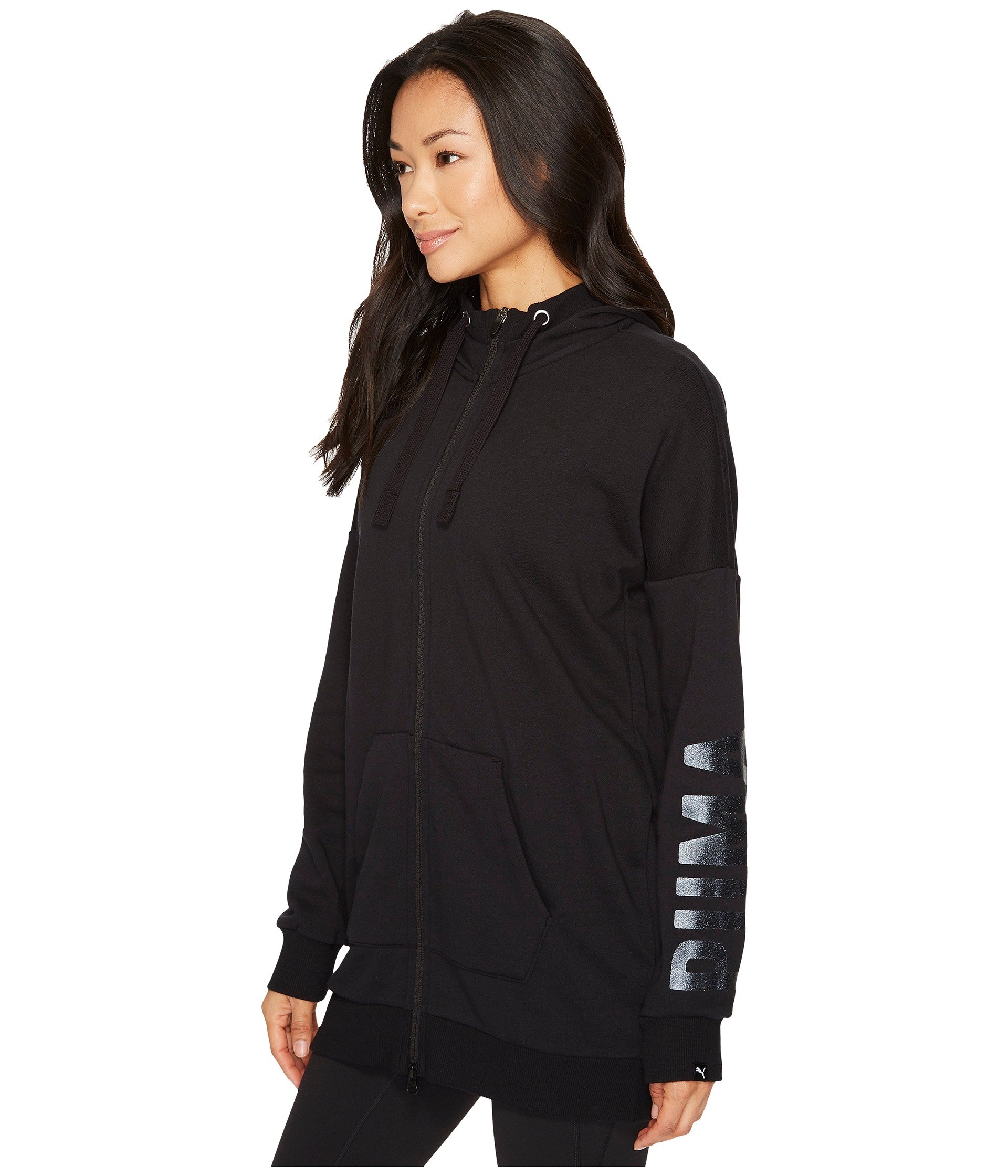 PUMA Women's Fusion Elongated Full Zip Hoodie Cotton Black/Glitter X-Large by PUMA (Image #3)