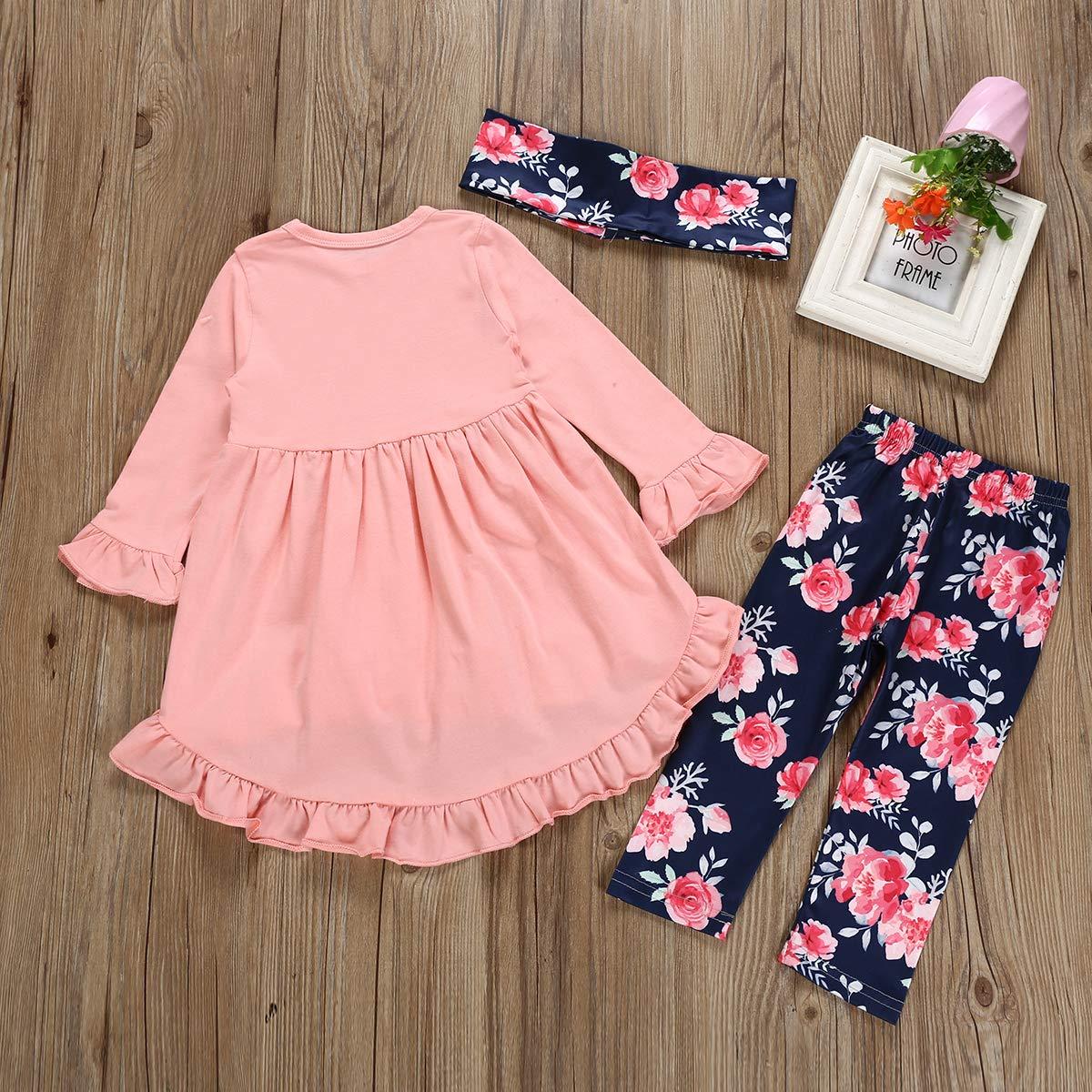 Toddler Girl Spring Ruffles Irregular Mini Dress Tops Long Pants Scarf 3PCS Clothing Set