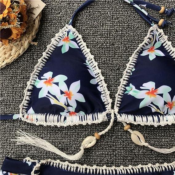 DEELIN Sujetador Estampado para Mujer con Sujetador Acolchado Beach Bikini Set Traje De BañO Traje De BañO Atractivo: Amazon.es: Ropa y accesorios