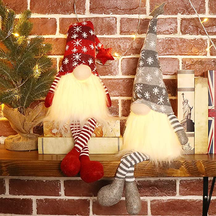 EDLDECCO Christmas Gnome with Light Timer 27 Inches Set of 2 Knitted Hat Nisse Figurine Plush Swedish Nordic Tomte Scandinavian Elf X'Mas Holiday Party Home Decor Ornaments (Red & Grey)