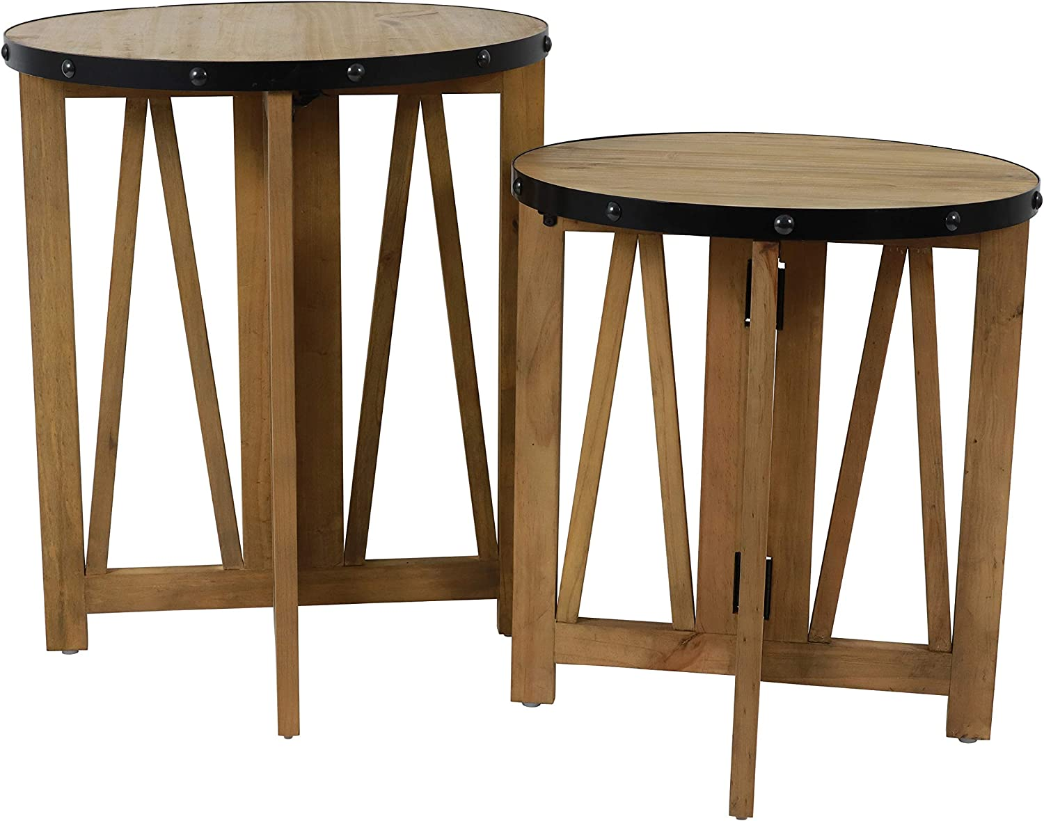 Decor Therapy Accent Side Table Set, Natural and Black