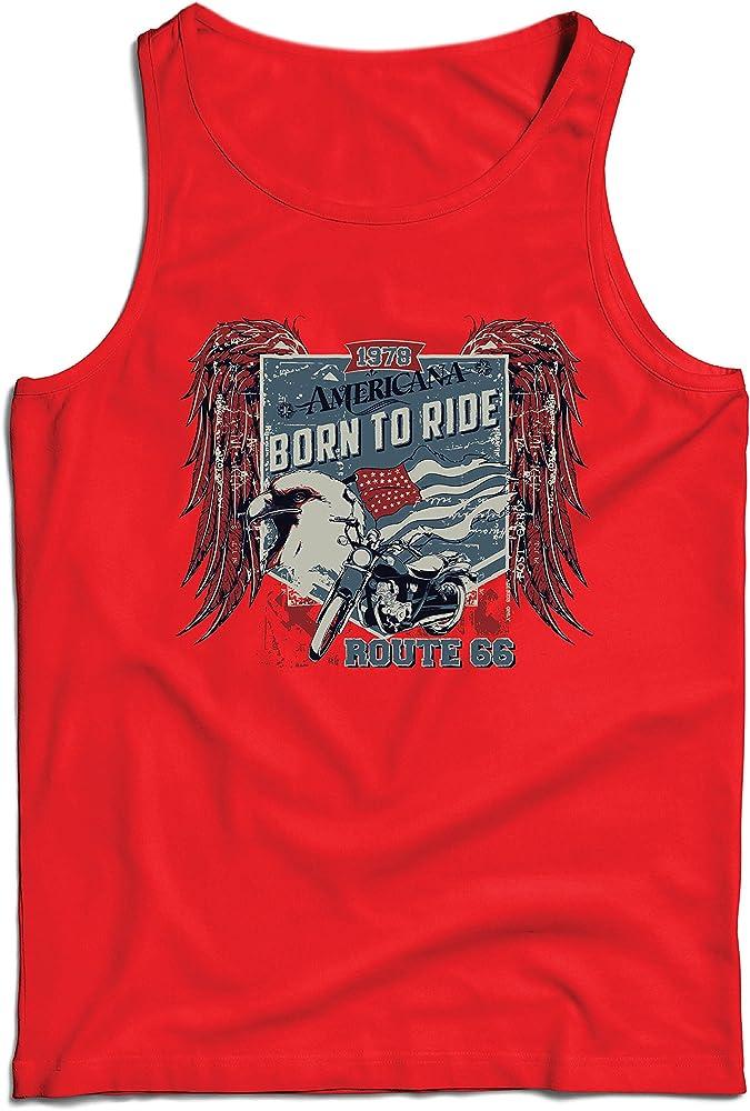 lepni.me Camisetas de Tirantes para Hombre Ruta histórica 66 - águila de la Bandera Americana, Camisa clásica de la Motocicleta (XXX-Large Rojo Multicolor): Amazon.es: Ropa y accesorios
