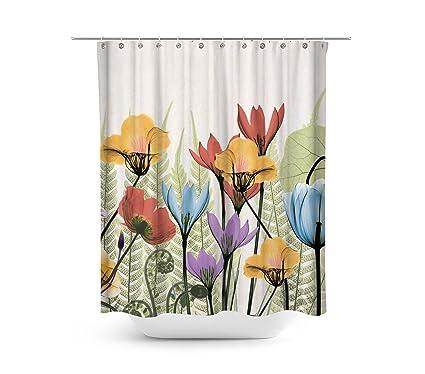 Dynabit Watercolor Floral Fabric Shower Curtain Set 72quot X Blue Red