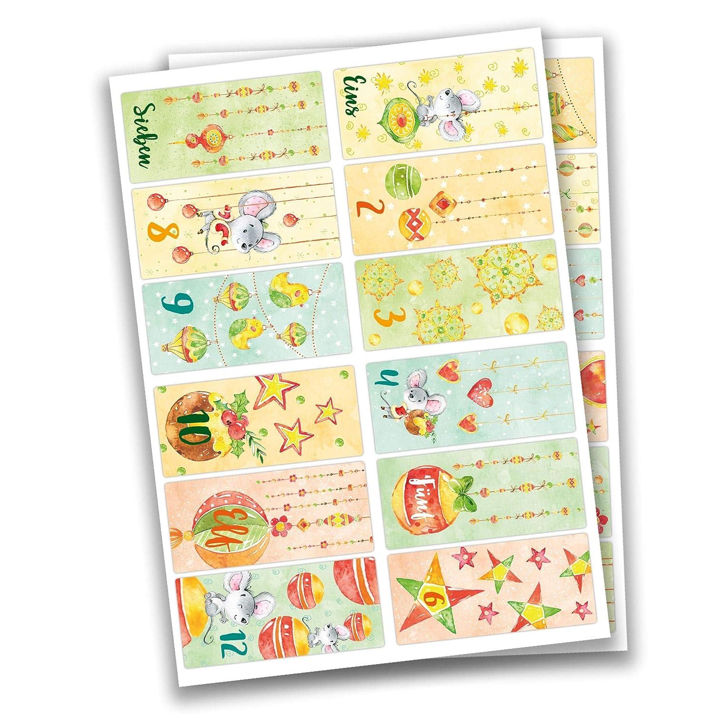 Papierdrachen 24 Adesivi con Numeri per Il Calendario dell'Avvento Adesivi squadrati - Animali della Foresta Blu n. 61 - Adesivi - per Creare e Decorare