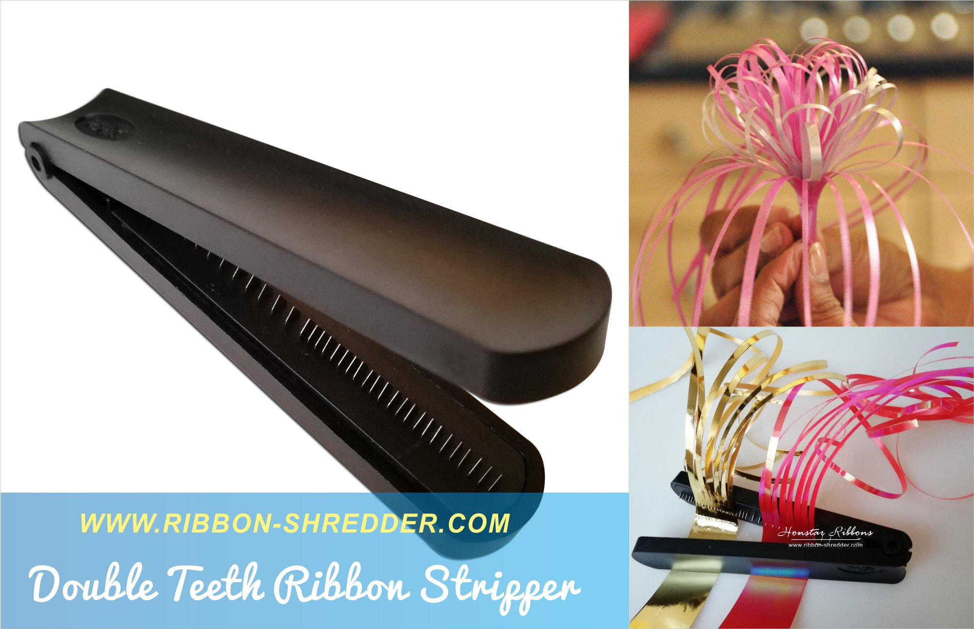 Ribbon Shredder Curler with Stainless Steel Blade Teeth for Laminated and Metallic Ribbons (Double)- RSPAC (TM) - Gift Wrapping Tool