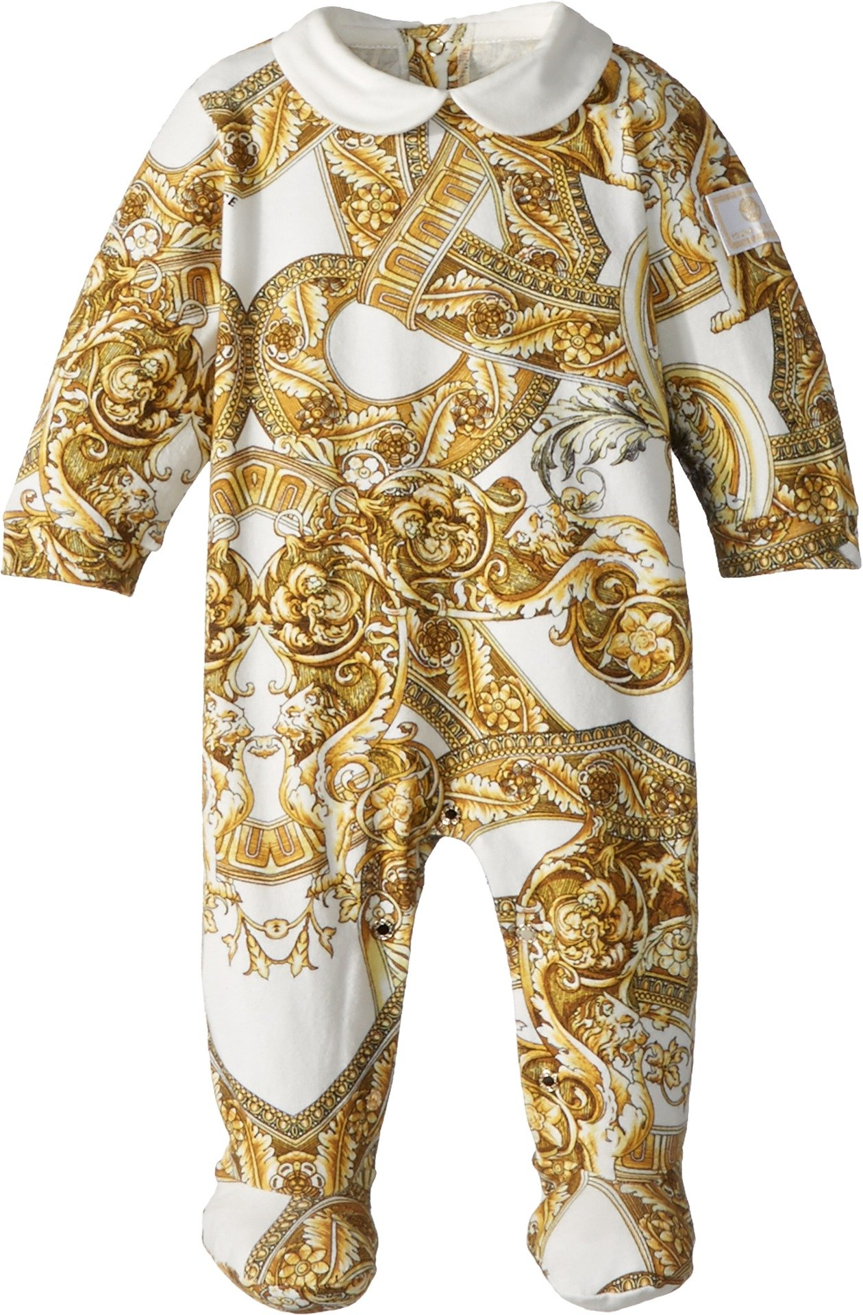 Versace Kids Unisex All Over Print Footie Heritage (Infant) Gold 3 Months