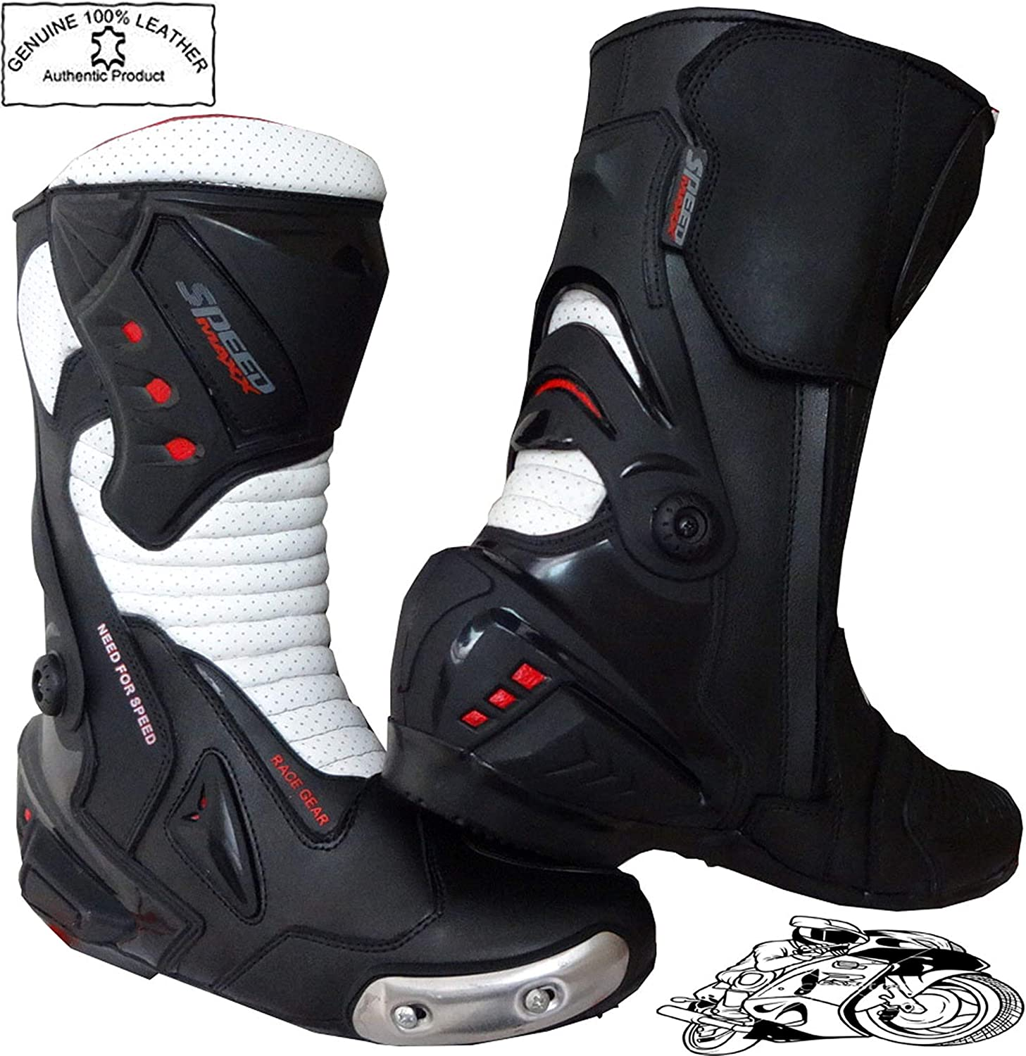 11 UK Speed MaxX Mens Black /& White Motorbike Motorcycle Armour Racing Sports Leather Shoes Boots