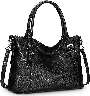 S-ZONE Women Genuine Leather Satchel Handbag Work Tote Shoulder Purse Crossbody Bag