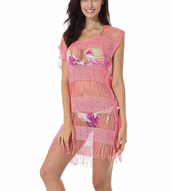 RELLECIGA Ropa de Playa para Mujeres túnica con Ganchillo Rosa XL