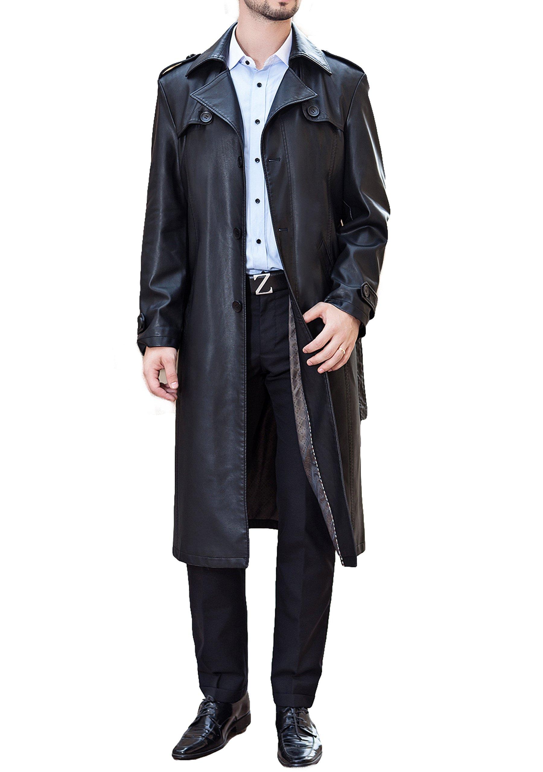 Men business suit collar Long Trench Coat fashion Long leather jacket (M)