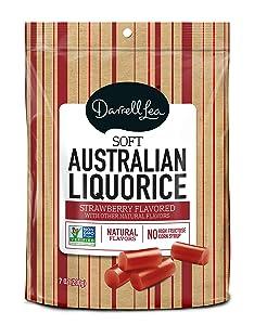 Soft Australian Strawberry Licorice - Darrell Lea 7oz Bag - NON-GMO, NO HFCS, Vegetarian & Kosher - America's #1 Soft Eating Licorice Brand!