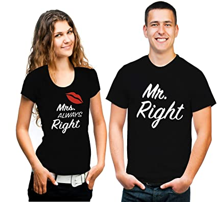 22e61b9be Hangout Hub Men s and Women s Couple s Cotton Mr Right Mrs Always Right Printed  T-Shirt