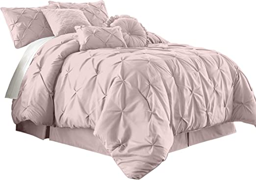 ALL SIZES Luxury 7pc Blush Pink Pleated Comforter Set AND Decorative Pillows