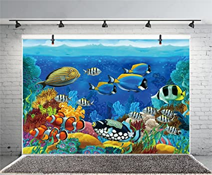 Leyiyi Underwater Sealife Backdrop 7x5ft Photography Background 3D Tropical  Fish Birthday Party Backdrop Aquarium Summer Camp Baby Shower Photo
