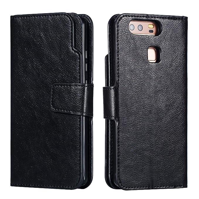 on sale 298c9 d7dd6 Amazon.com: Compatible Huawei P9 Case Leather Flip Wallet Case for ...