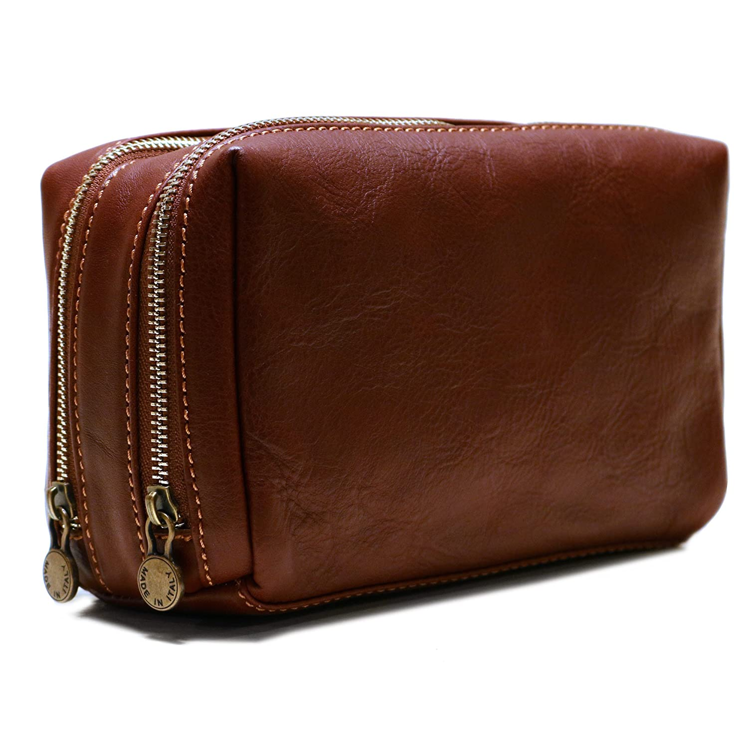 Siena Leather Travel Dopp Kit Toiletry Bag in Brown