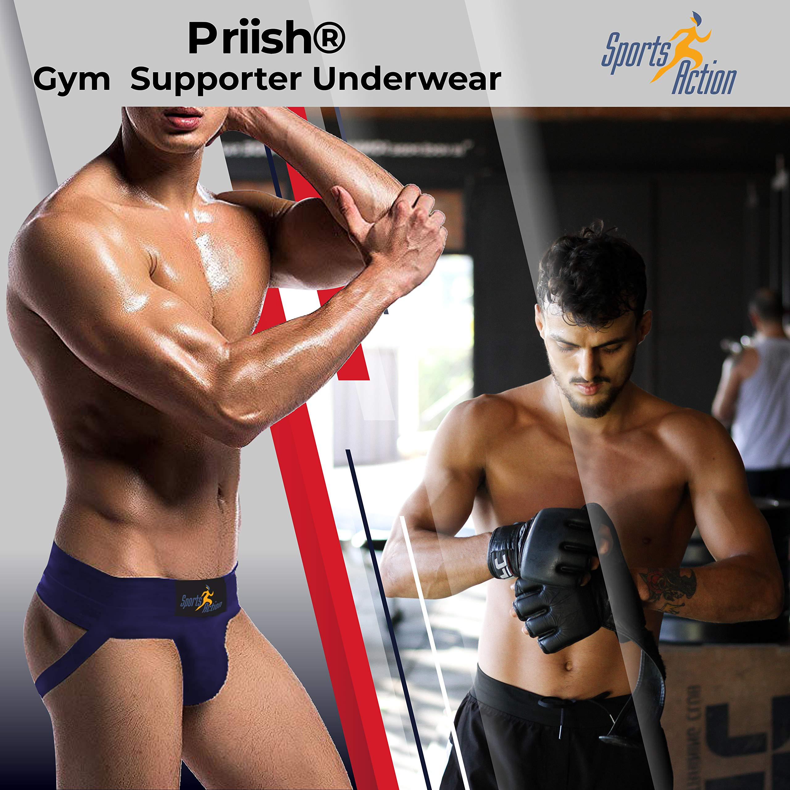 Priish® Men Athletic Gym Supporter Jockstraps for Men Underwear for Sports Outdoor Cricket with Cup Pocket - Blue product image