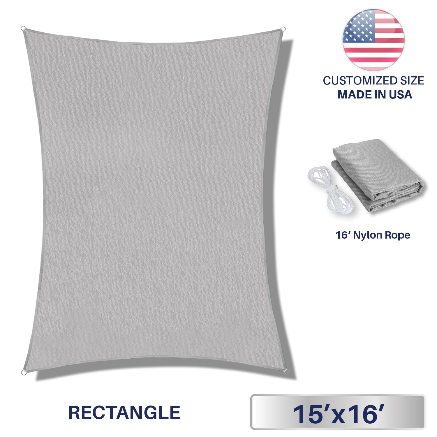 Windscreen4less Sun Shade Sail for Outdoor Patio Backyard UV Block Awning with Steel D-rings 15ft x 16ft Light Grey Rectangle - Custom Size
