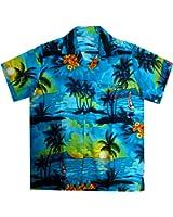 Original King Kameha | Funky Hawaiihemd | Herren | XS - 12XL | Kurzarm | Front-Tasche | Hawaii-Print | Surf Palmen Meer | Türkis