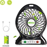 Battery Operated Fan,Portable USB Fan with Emergency Light,Rechargeable Battery Powered Fan,Personal Small Desk Fan Cooling for Camping,Gym,Travel,Office( Quality 2600 mAh,3 Speed, Lower Noise)
