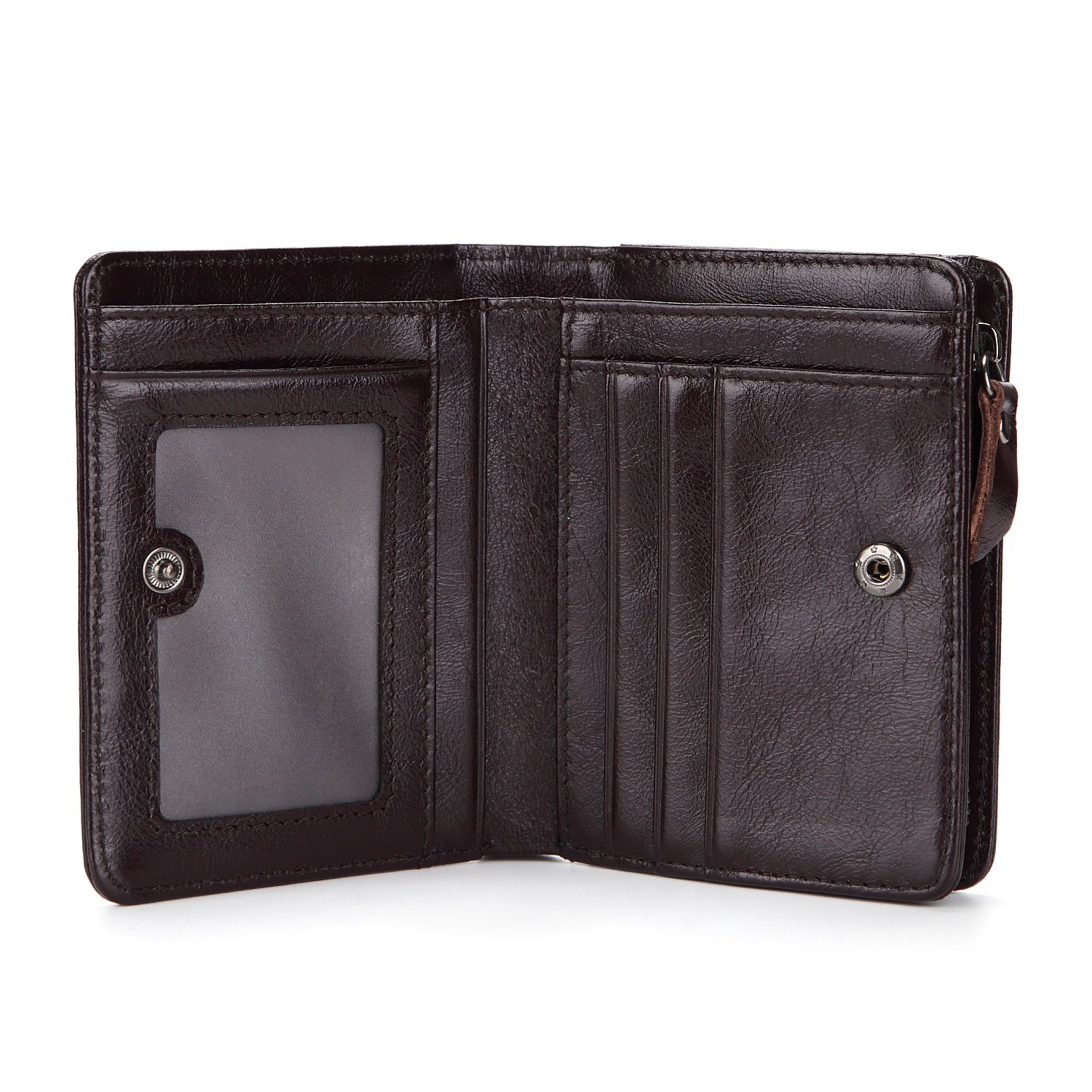 XINXI-MAO Cozy RFID Mens Wallet Leather Vertical Wallet Cowhide Leather Anti-Theft Brush Zip Coin Purse Backpack Color : Brown, Size : S