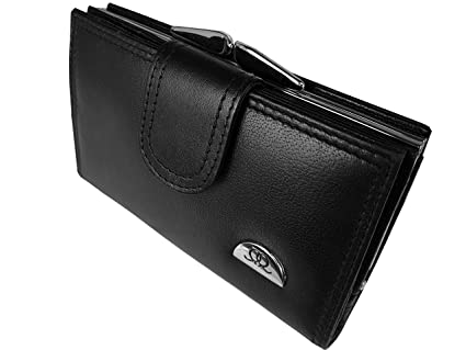 Large Metal Clasped Coin Section QL439K Ladies Real Leather Purse Separate 8 Debit or Credit Card Spaces Button Closure- 2 Bank Note Sections Photo Page Black Leather Medium Size Purses